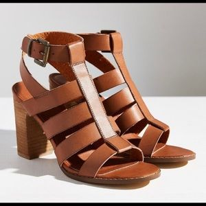 Urban outfitters brown strap caged heels